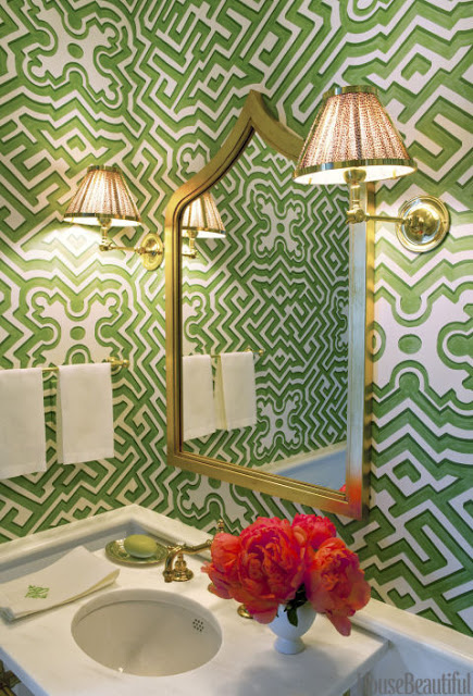 Whittaker used Cole Sons Palace Maze wallpaper in a powder room 435x640