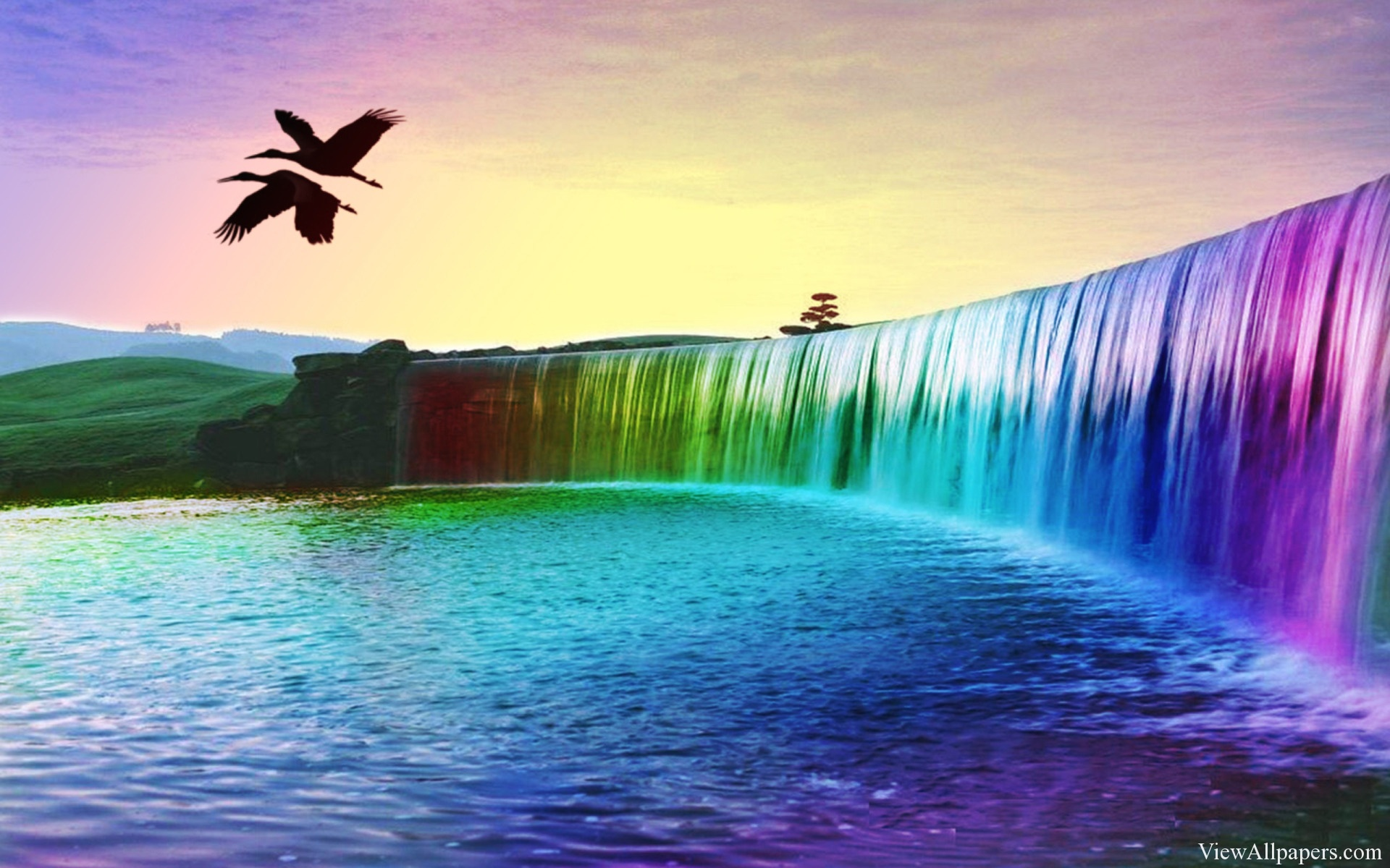 Colorful Waterfall Desktop Background High Resolution download 1920x1200