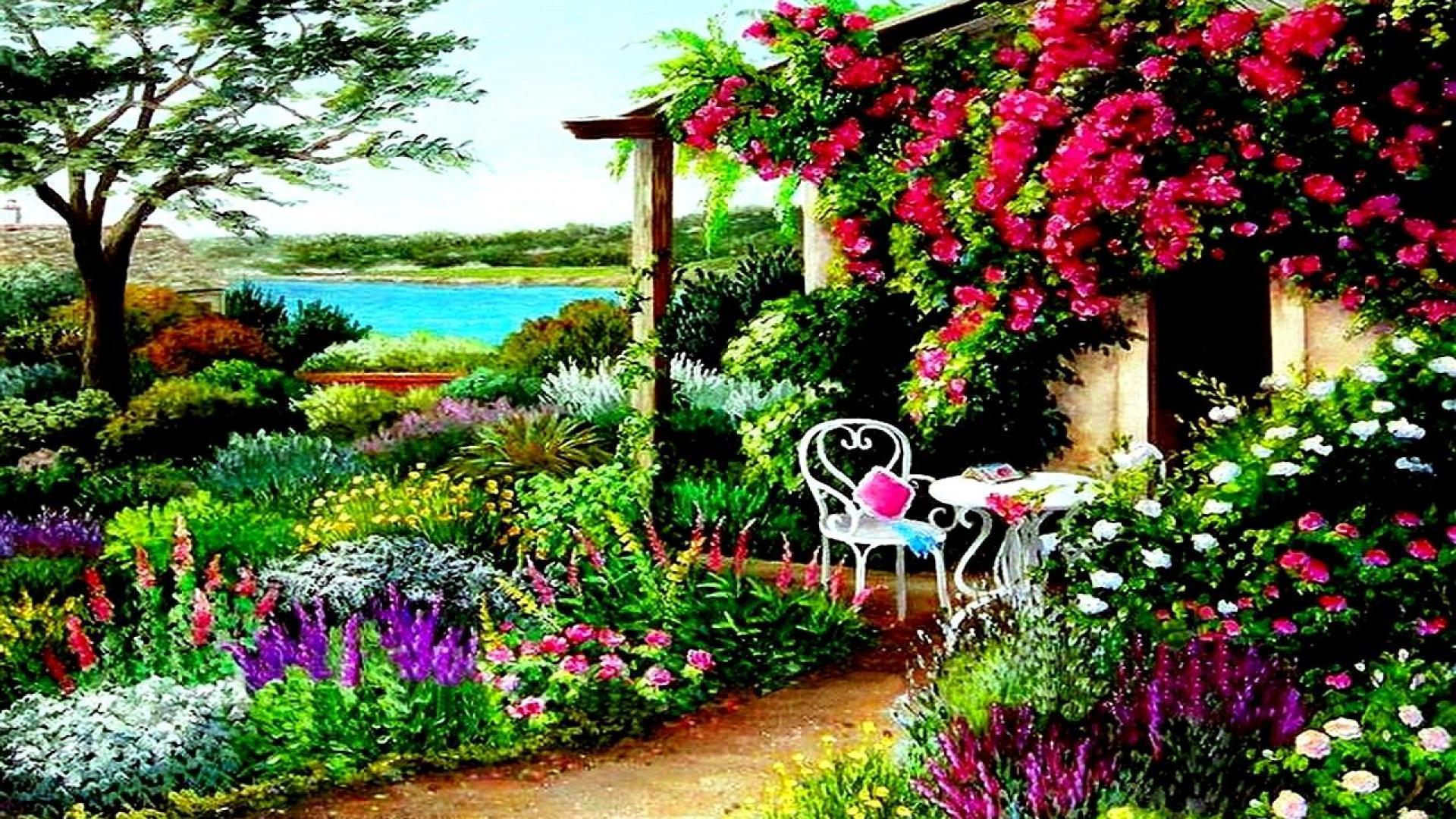 Flower garden wallpaper background - Awesome Spring Garden High Quality Wallpaper For Desktop Background