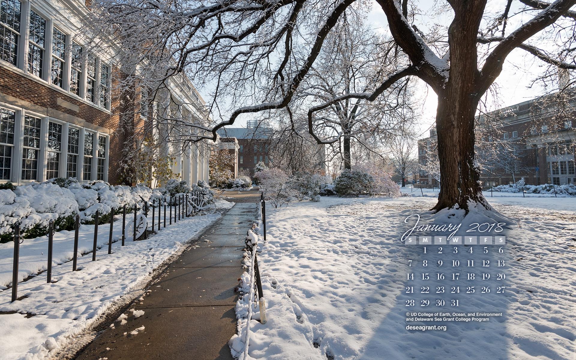 Desktop Calendar Wallpaper   January 2018 SeaGrant 1920x1200