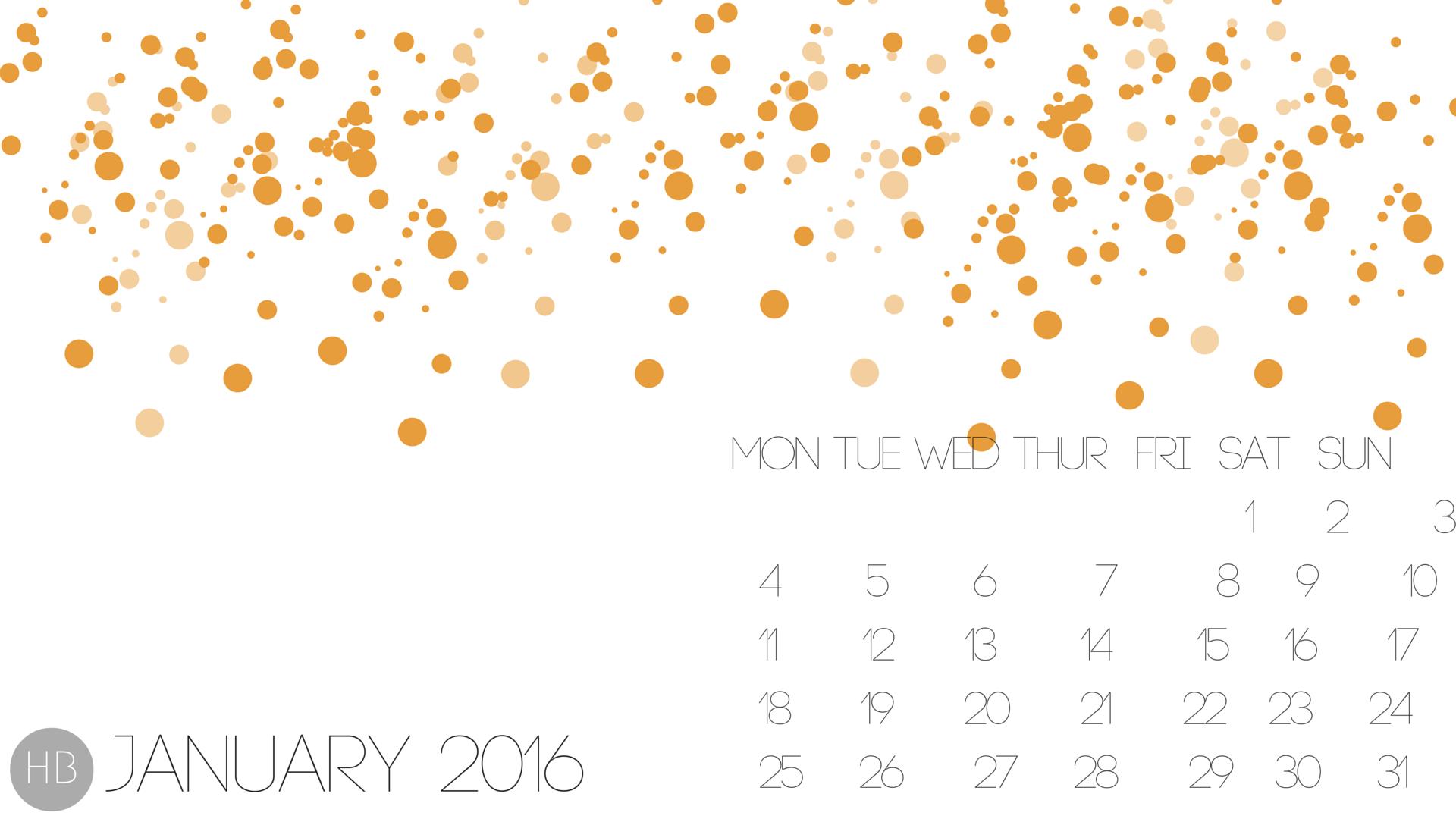 January 2016 Calendar Wallpaper   Hello Black 1920x1080