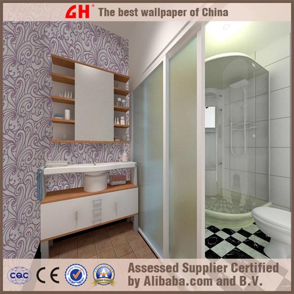 Modern design purple waterproof wallpaper for bathroomjpg 600x600