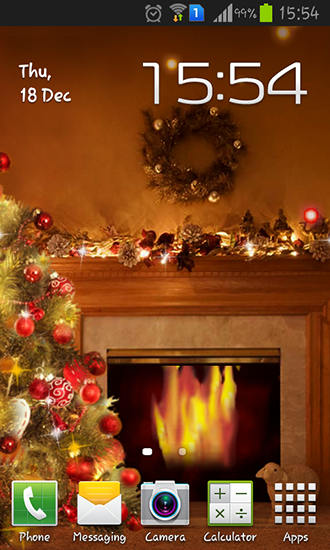 Fireplace New Year 2015 live wallpaper for Android Fireplace New Year 330x550
