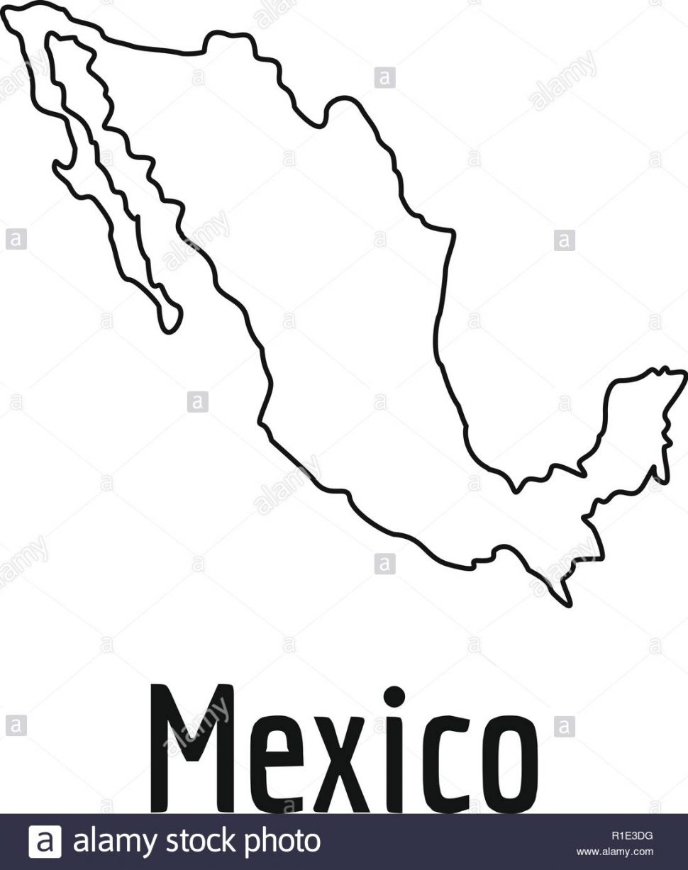 US Map Mexico Map Stock Photos Images Thin Line Simple 970x1227