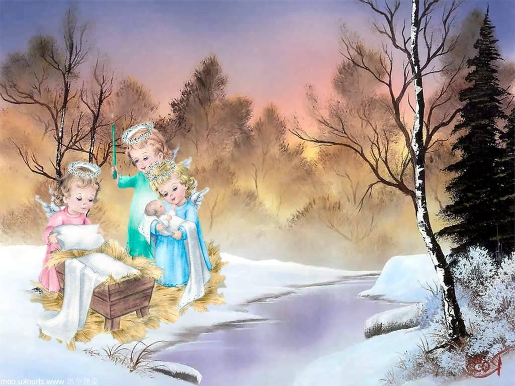 Angels watching over baby Jesus christianity Christmas Jesus Christ 1024x768