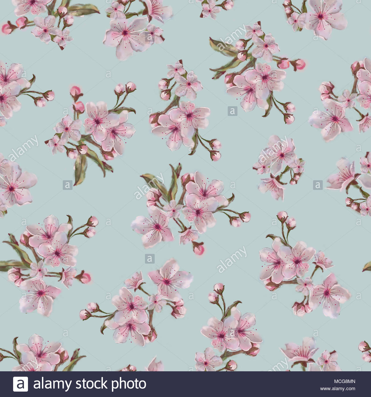 Pink Inflorescence Seamless Pattern on Blue Background Floral 1300x1390