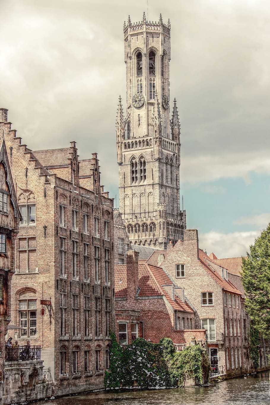 HD wallpaper white and pink tower illustration belfry bruges 910x1365