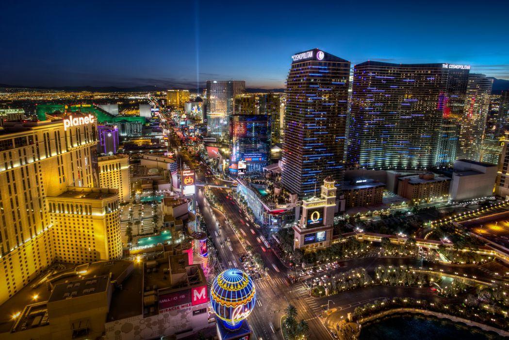 Las Vegas Strip hdr buildings signs neon roads wallpaper 1049x700