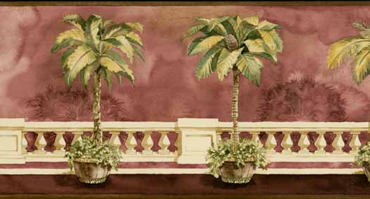 Burgundy Tropical Tree Wall Paper Border   Wallpaper Border 525x282