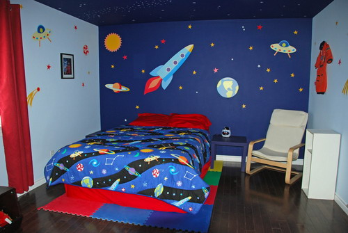 Exotic space bedroom themed wallpaper decor gallery 500x335