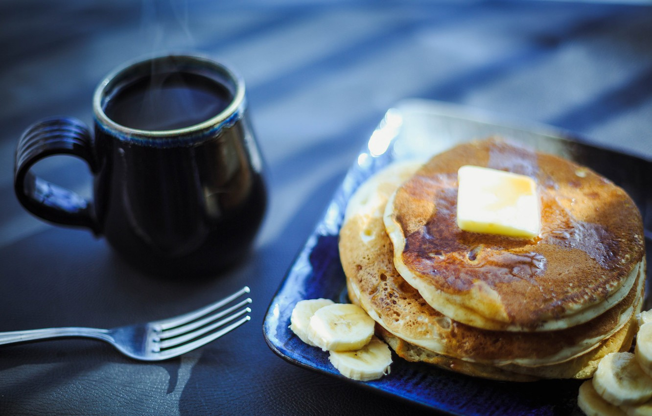 Wallpaper coffee pancakes breakfast images for desktop section 1332x850