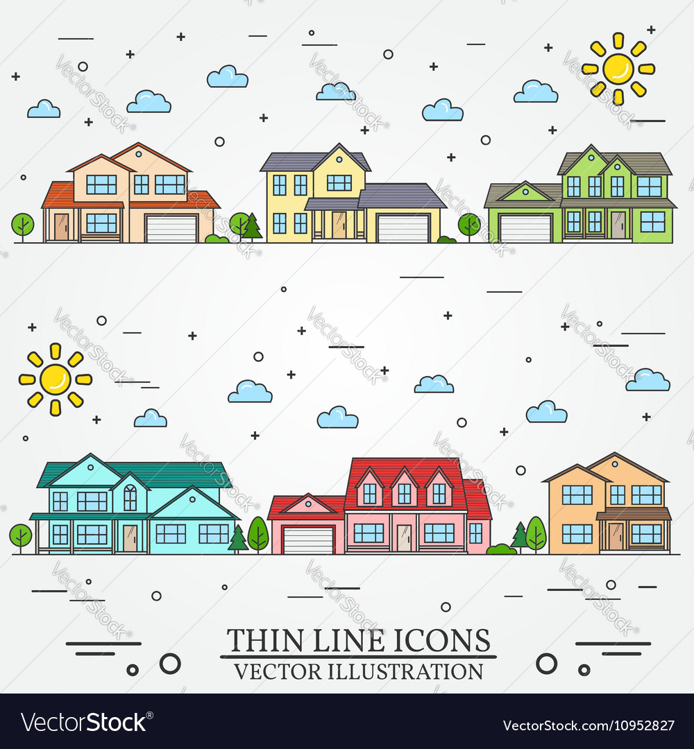 Neighborhood with homes on white background Vector Image 1000x1080