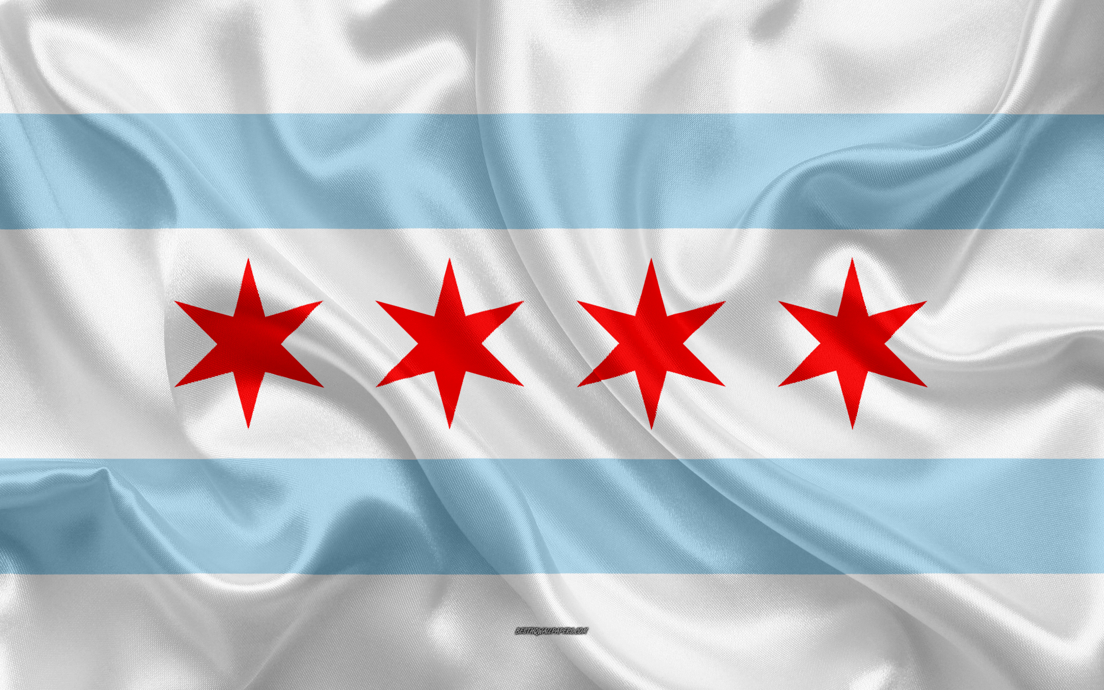 Download wallpapers Flag of Chicago 4k silk texture american 3840x2400