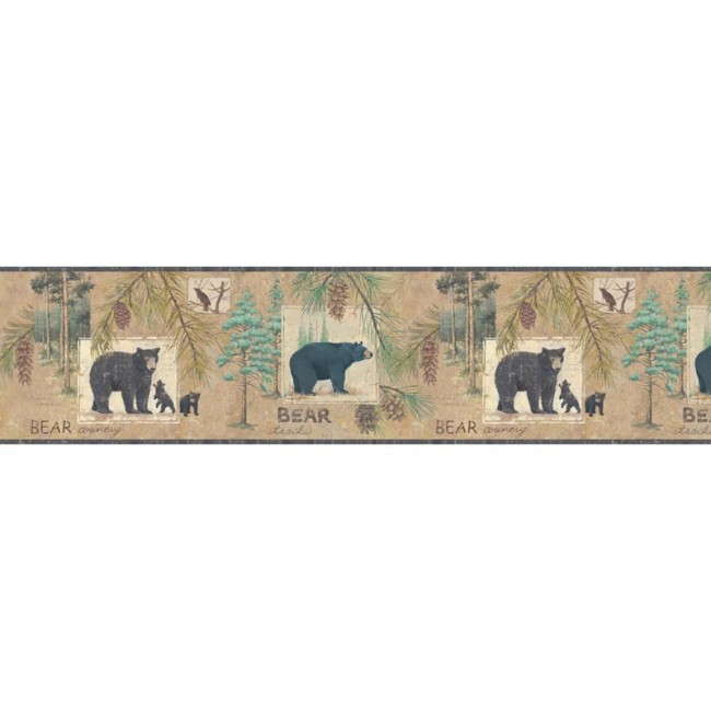 Lake Forest Lodge Bear Border   Hunting Wildlife Decor 650x650