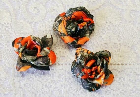 One Small Orange Camo Roses   Cake Decor   Satin Roses   Orange Camo 570x395