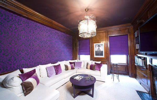 purple media room with one framed wallpaper wall 600x384