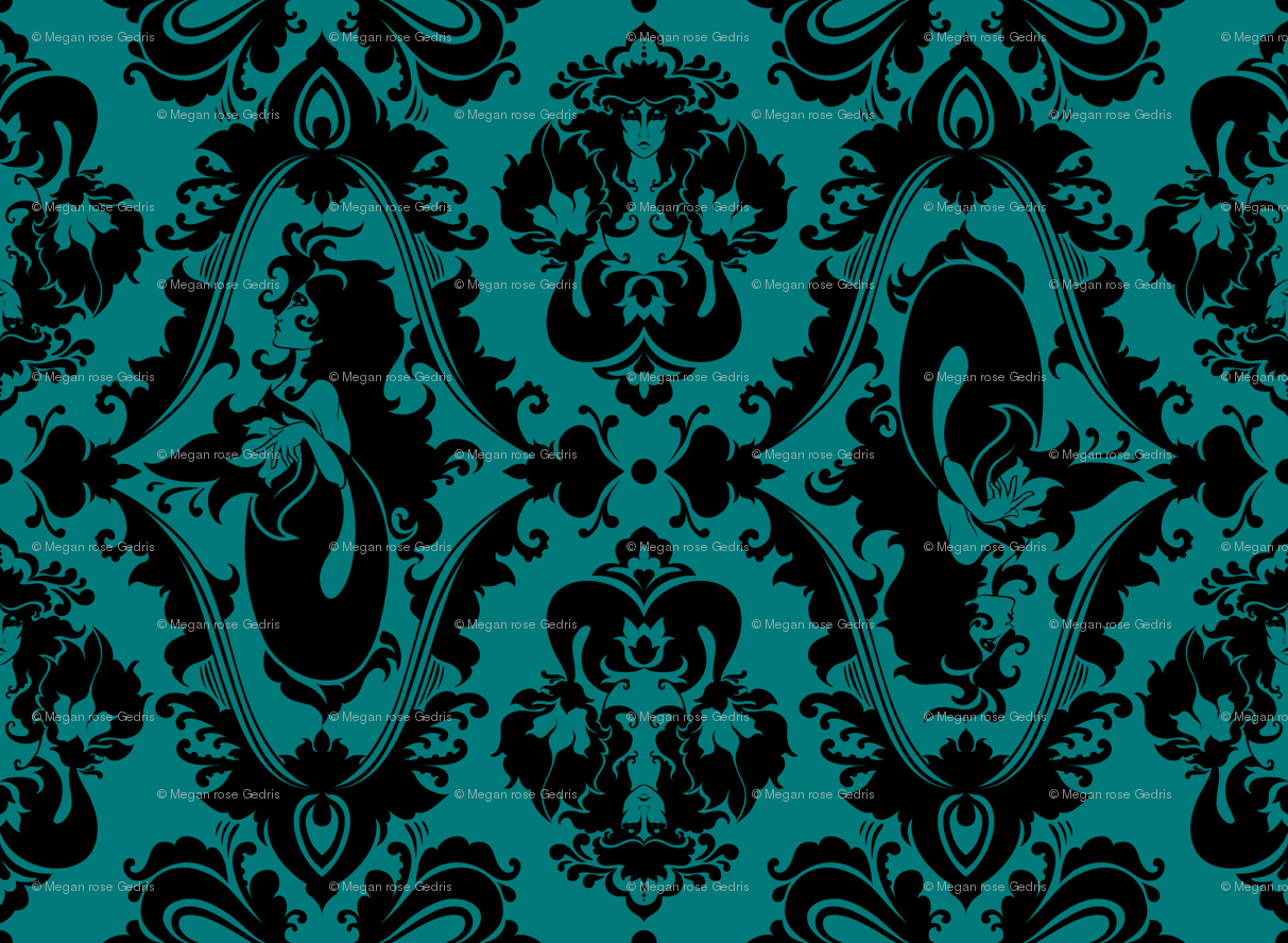 Black Mermaid Wallpaper Mermaid Damask Teal And Black 1213x888