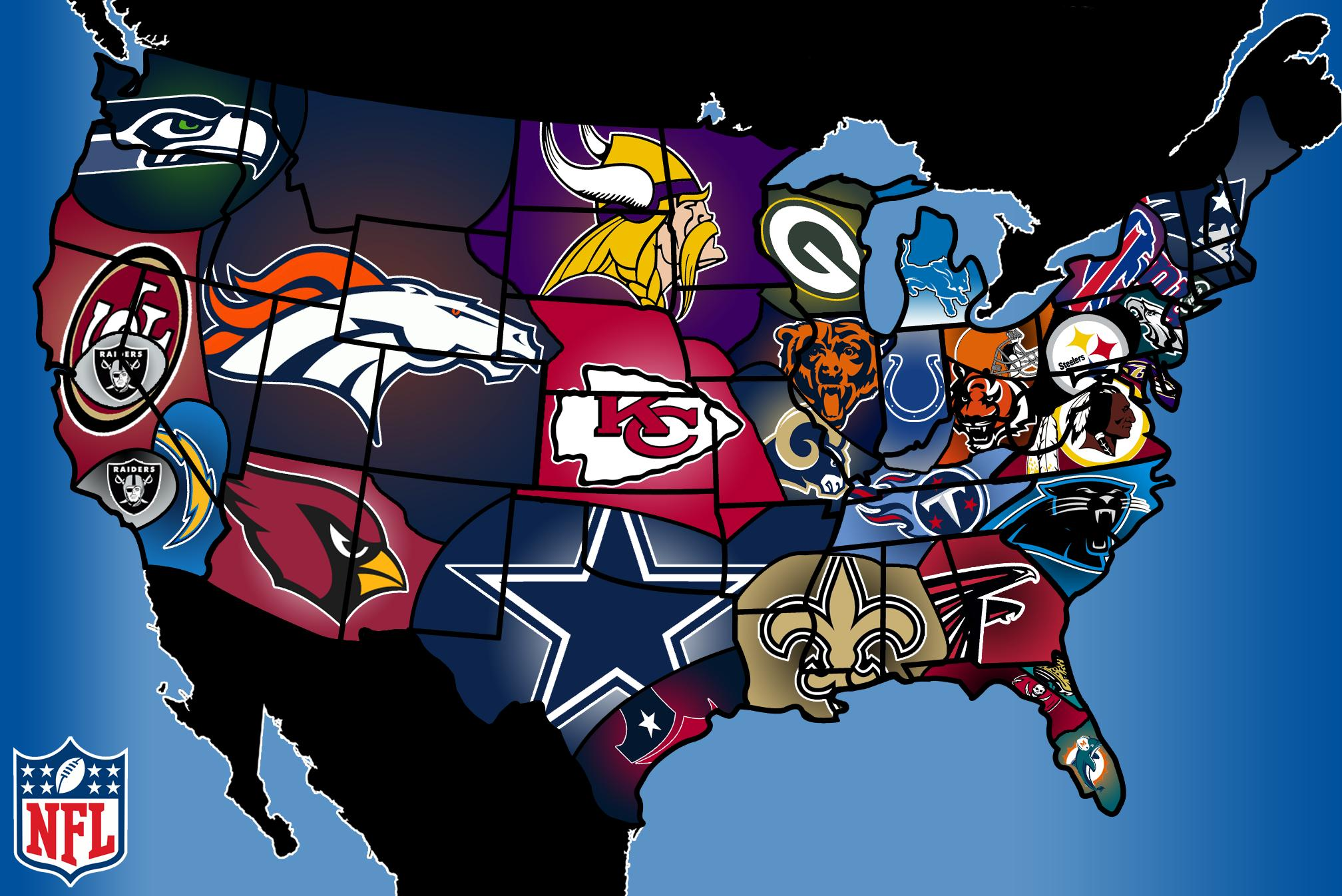 the US state borders were redrawn according to NFL team allegiances 2016x1346