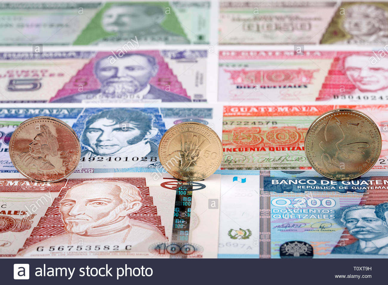 Guatemalan quetzal coins on a background of banknotes Stock Photo 1300x956