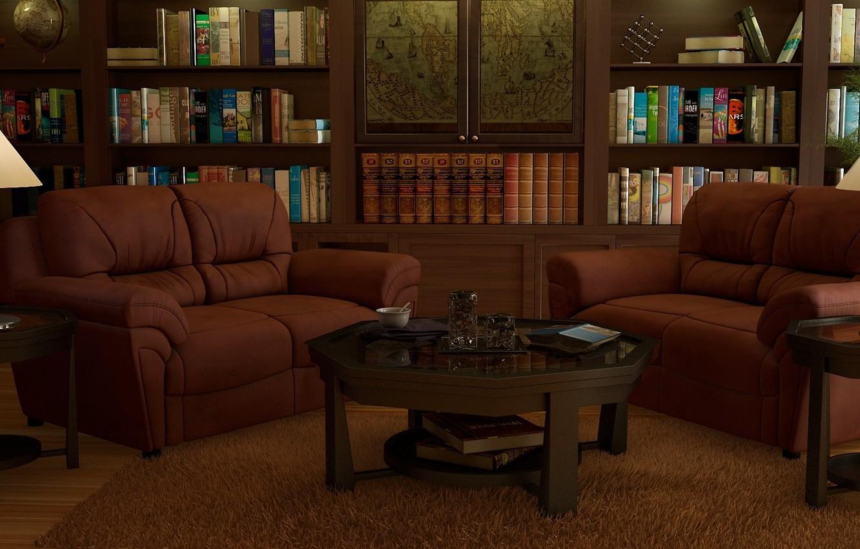 Wallpaper rendering lamp room carpet books map interior art 1332x850