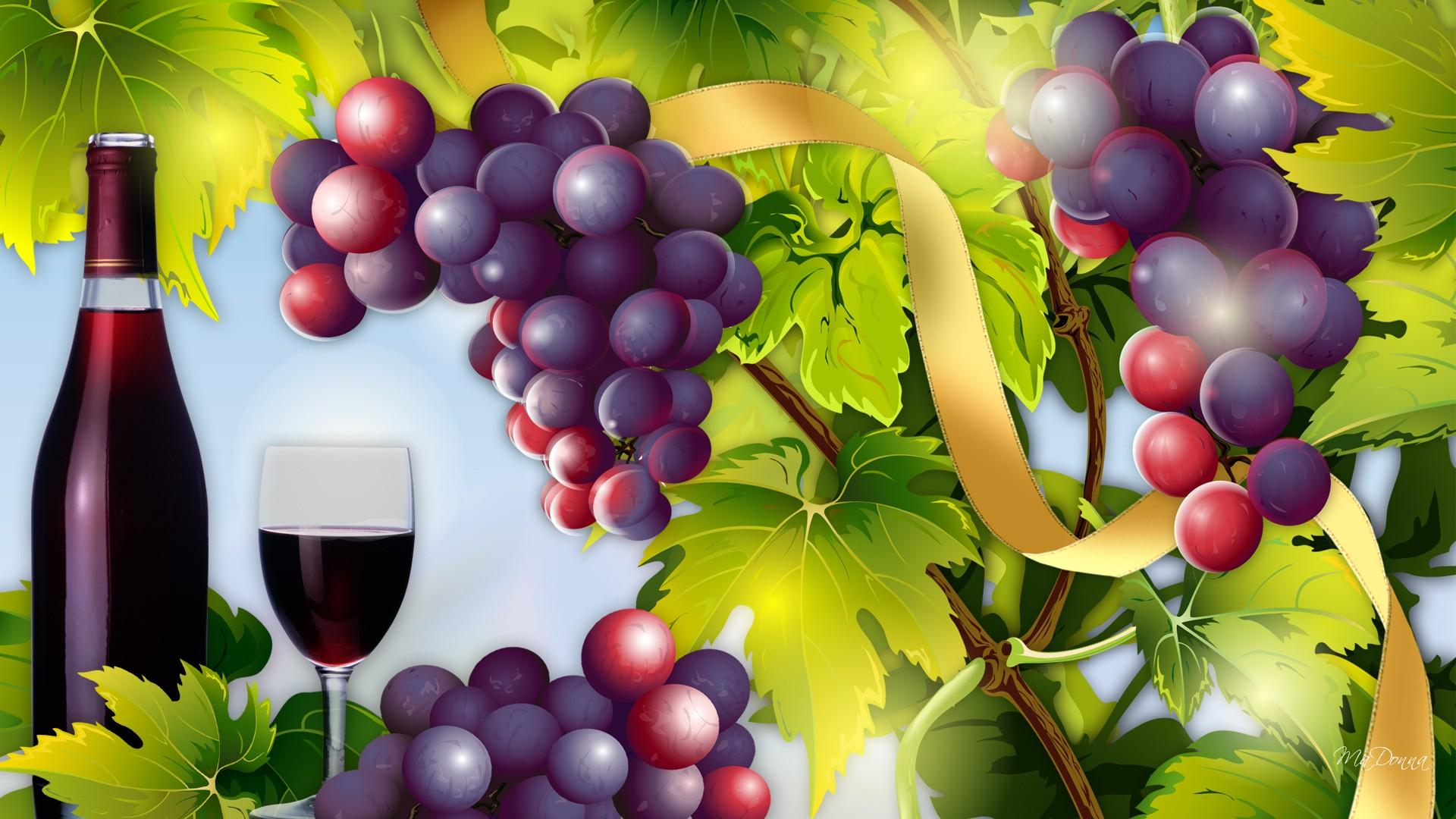 Wine And Grapes Vector Hd Wallpaper Wallpaper List 1920x1080