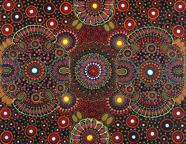 Aboriginal Art Cosmic Flower and Flower artists 640x496