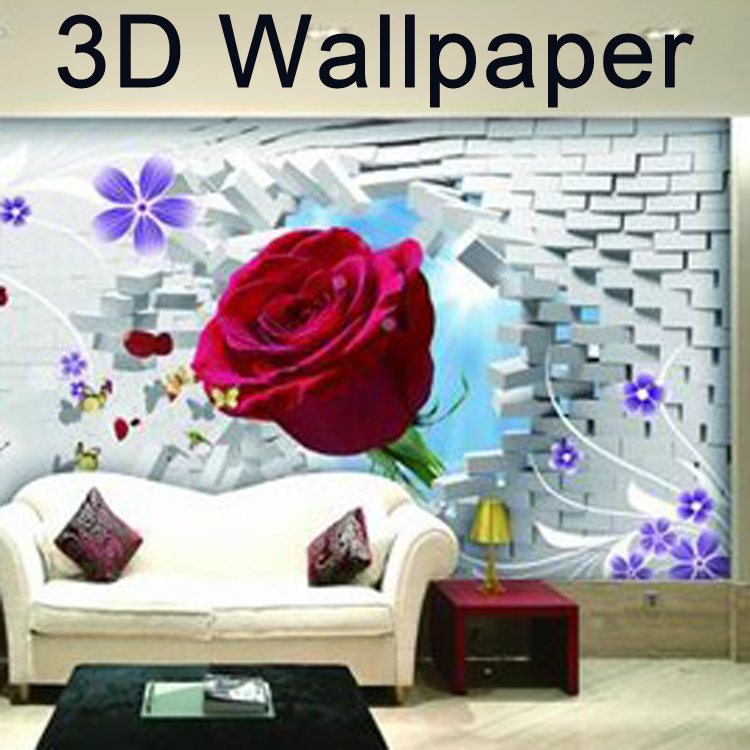 shipping mural wallpaper romantic water mirror flower large 750x750