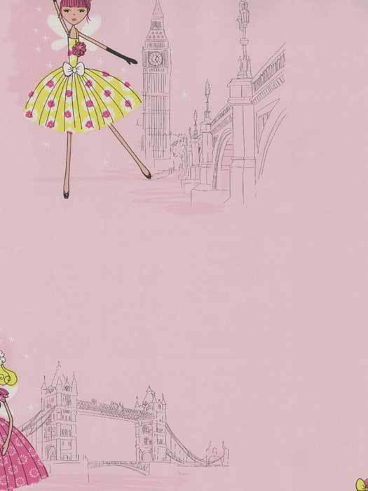 Pink Paris Tea Time Wallpaper   Baby Nursery Kids 525x700
