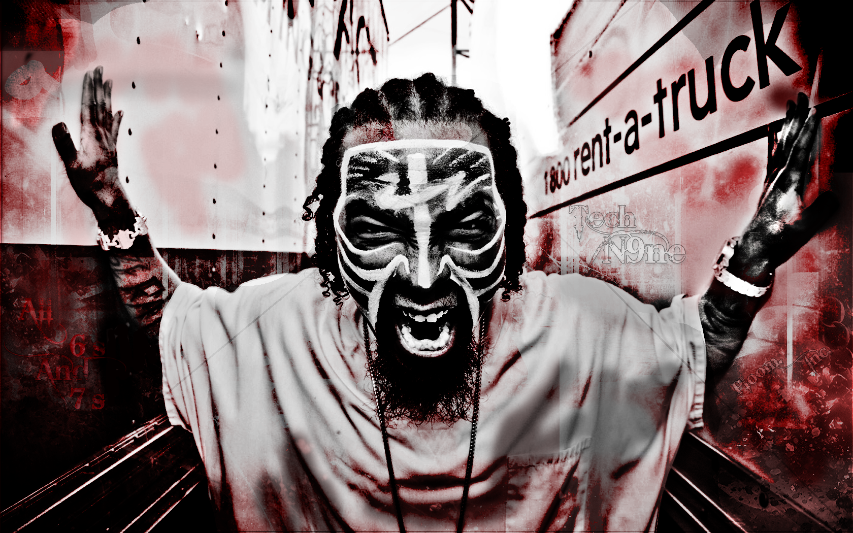 TECH N9NE gangsta rapper rap hip hop dark g wallpaper 1680x1050 1680x1050