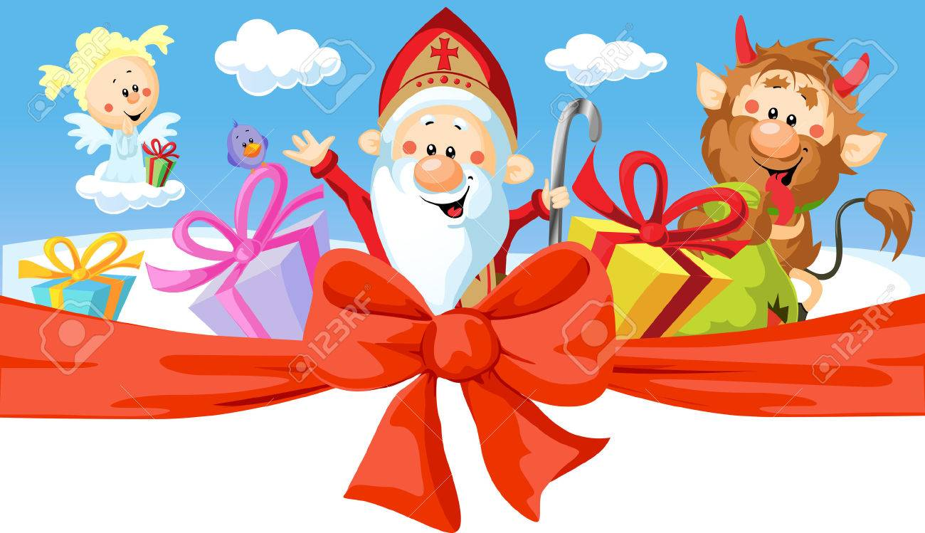 Saint Nicholas Devil And Angel   Vector Illustration Isolated 1300x749