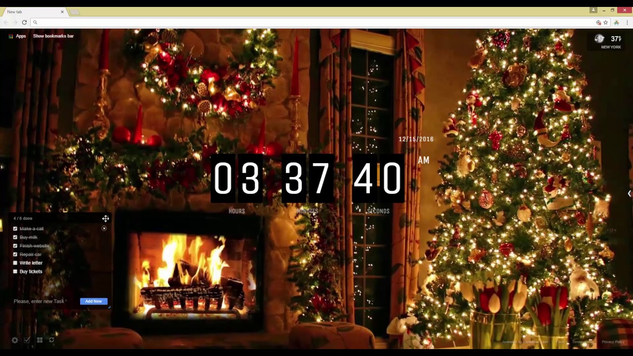 Christmas Tree and Fireplace Live Wallpaper 1280x720