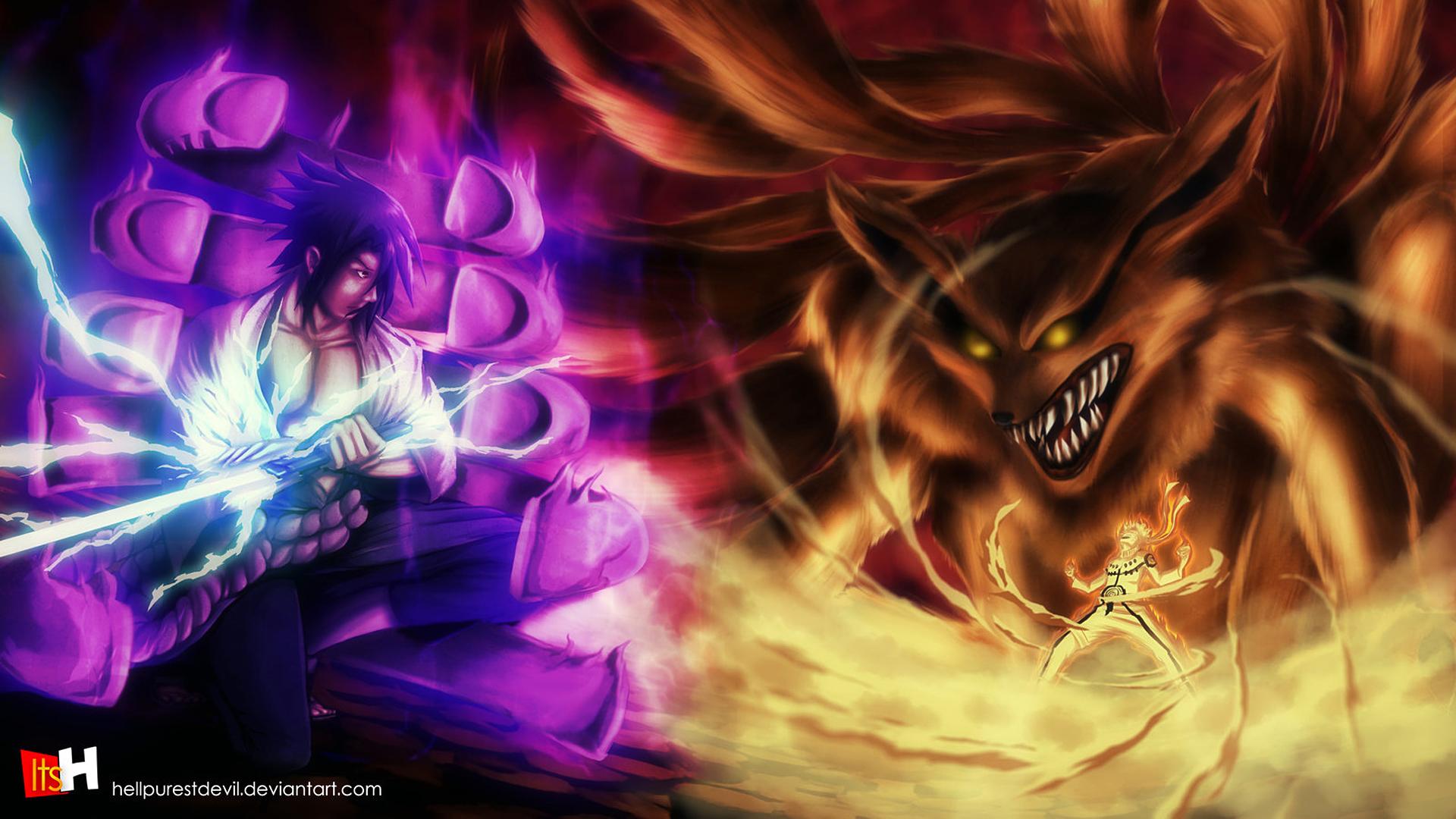 Free Download Sasuke Susanoo Vs Naruto Kyuubi Wallpaper Hd