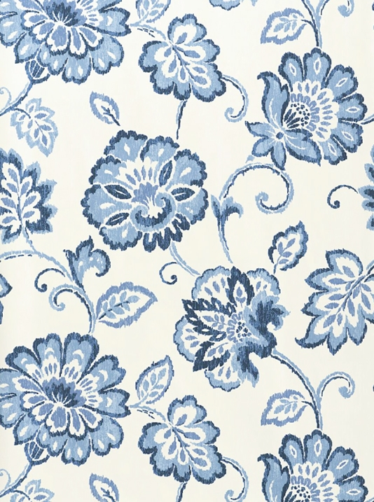 Floral Wallpaper White wallpaper with floral Ikat design in Blue 534x717