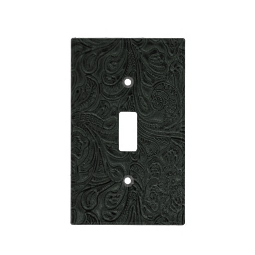 Black Tooled Leather Look Faux Western Switch Plate Covers Zazzle 512x512