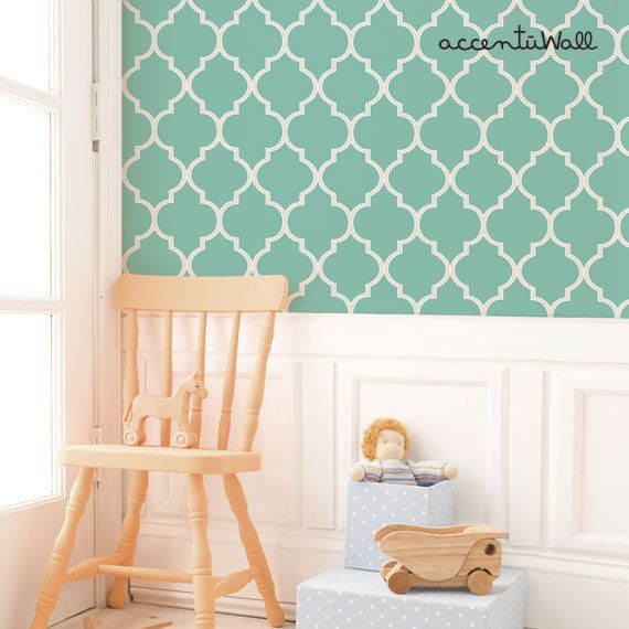 Moroccan Mint Peel Stick Fabric Wallpaper by AccentuWall on Etsy 570x570
