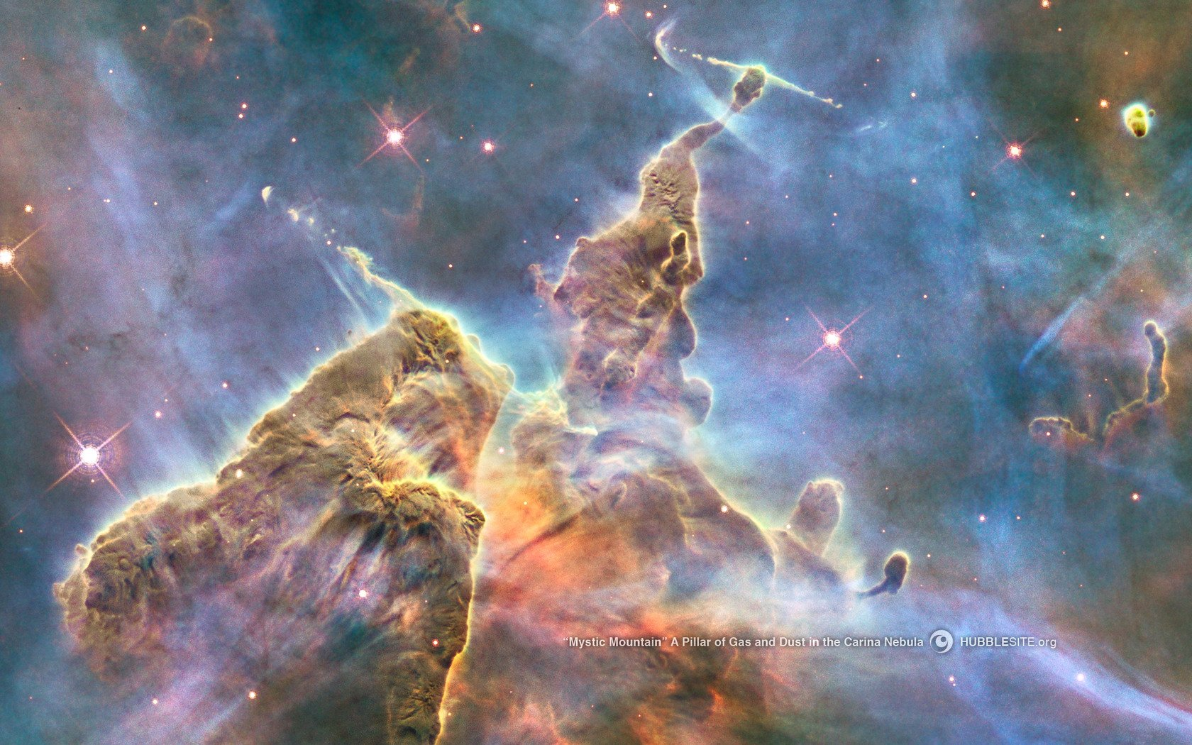Space nasa hubble carina nebula mystic mountain wallpaper 1680x1050 1680x1050