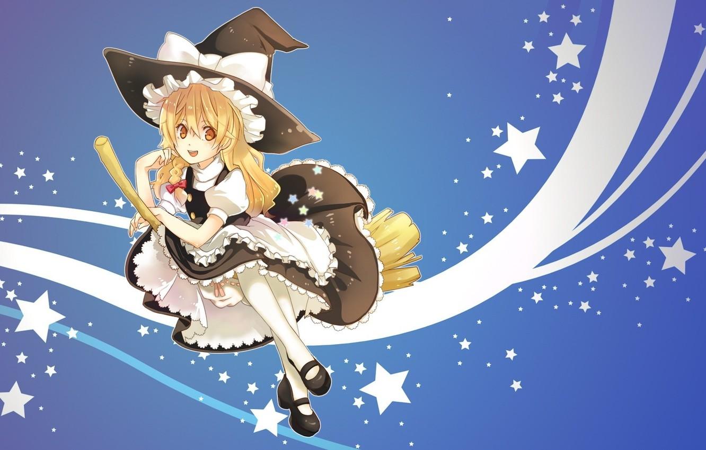 Wallpaper flight witch broom stars touhou ruffles Kirisame 1332x850