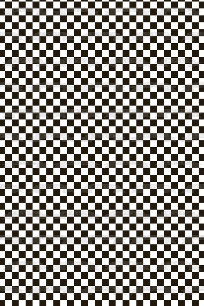 Black and White Checkered Background Edible Cake Topper Image 682x1024
