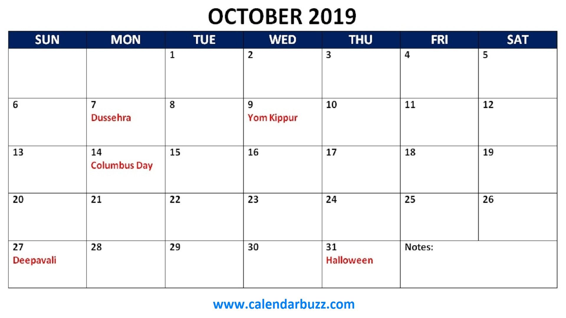 october 2019 holidays calendar printable October calendar 2019 1920x1080