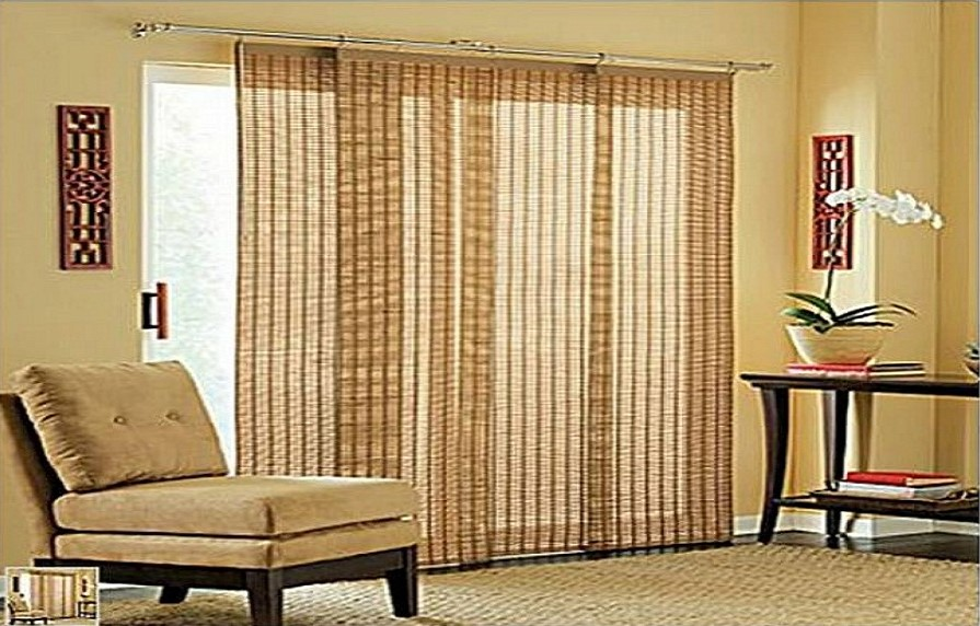 Breathtaking Window Covering For Sliding Glass Door Brown Sofa Wooden 895x572