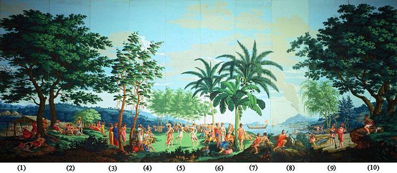 de la Mer Pacifique panels 1 10 of woodblock printed wallpaper 800x349