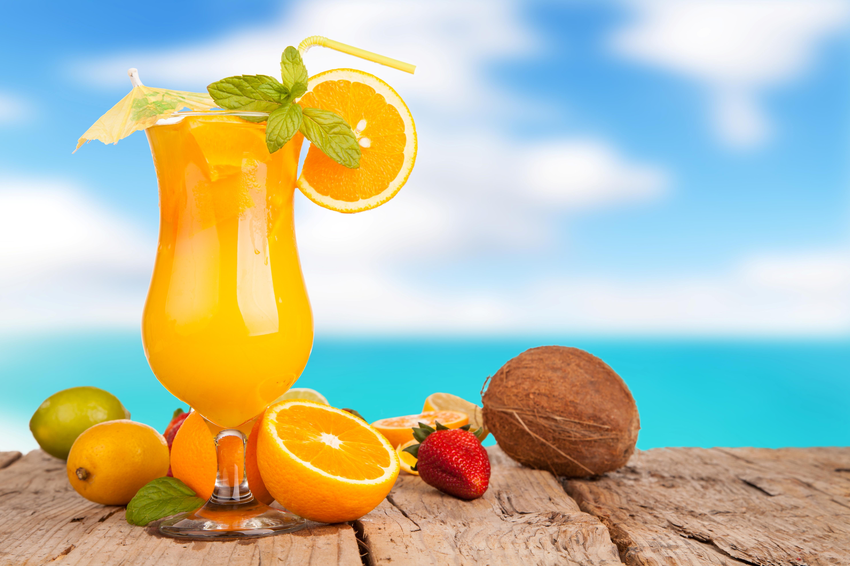 Wallpaper juice orange drink summer glass umbrella tube orange 5935x3957