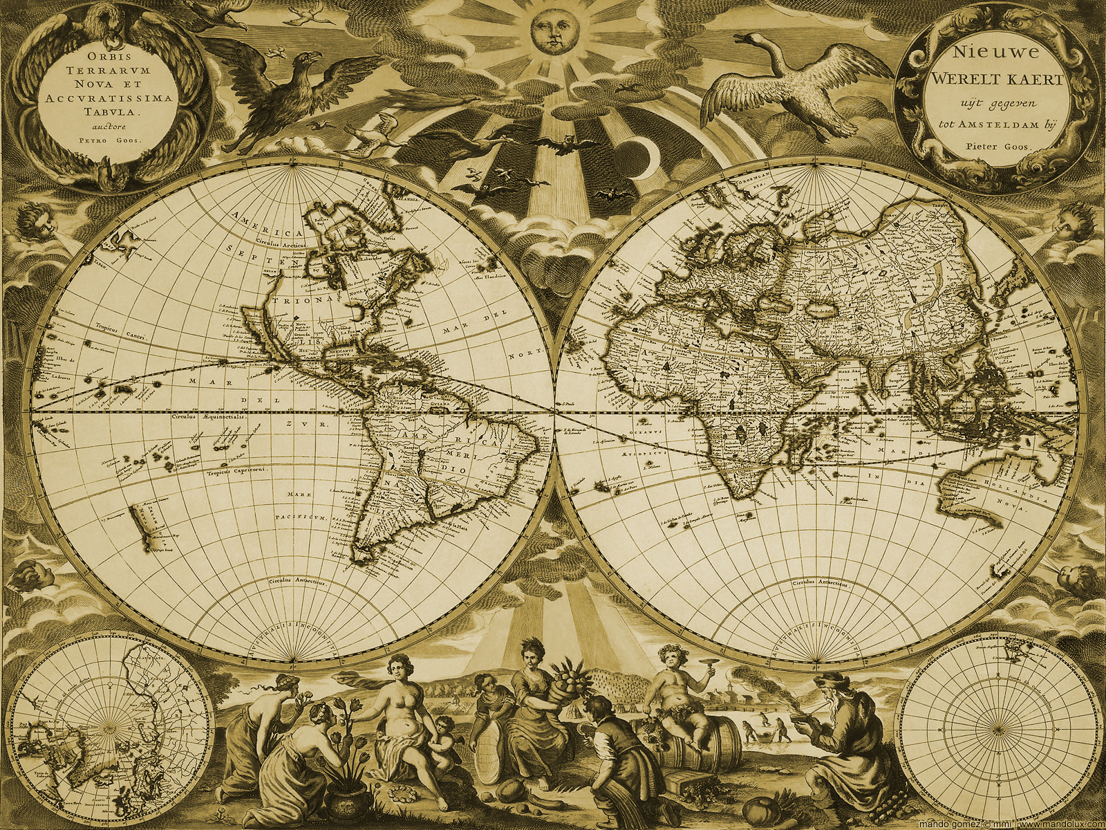 Old World Map Desktop Wallpaper