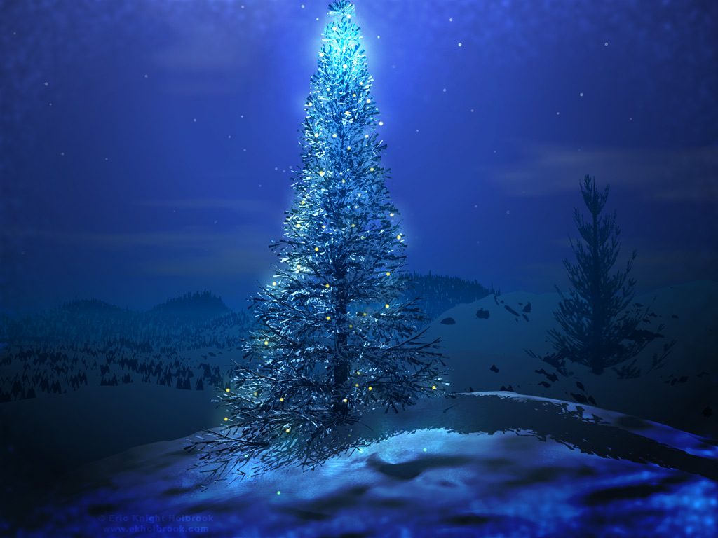 ChristmasHDdesktopwallpaperblue christmas tree wallpaperjpg 1024x768