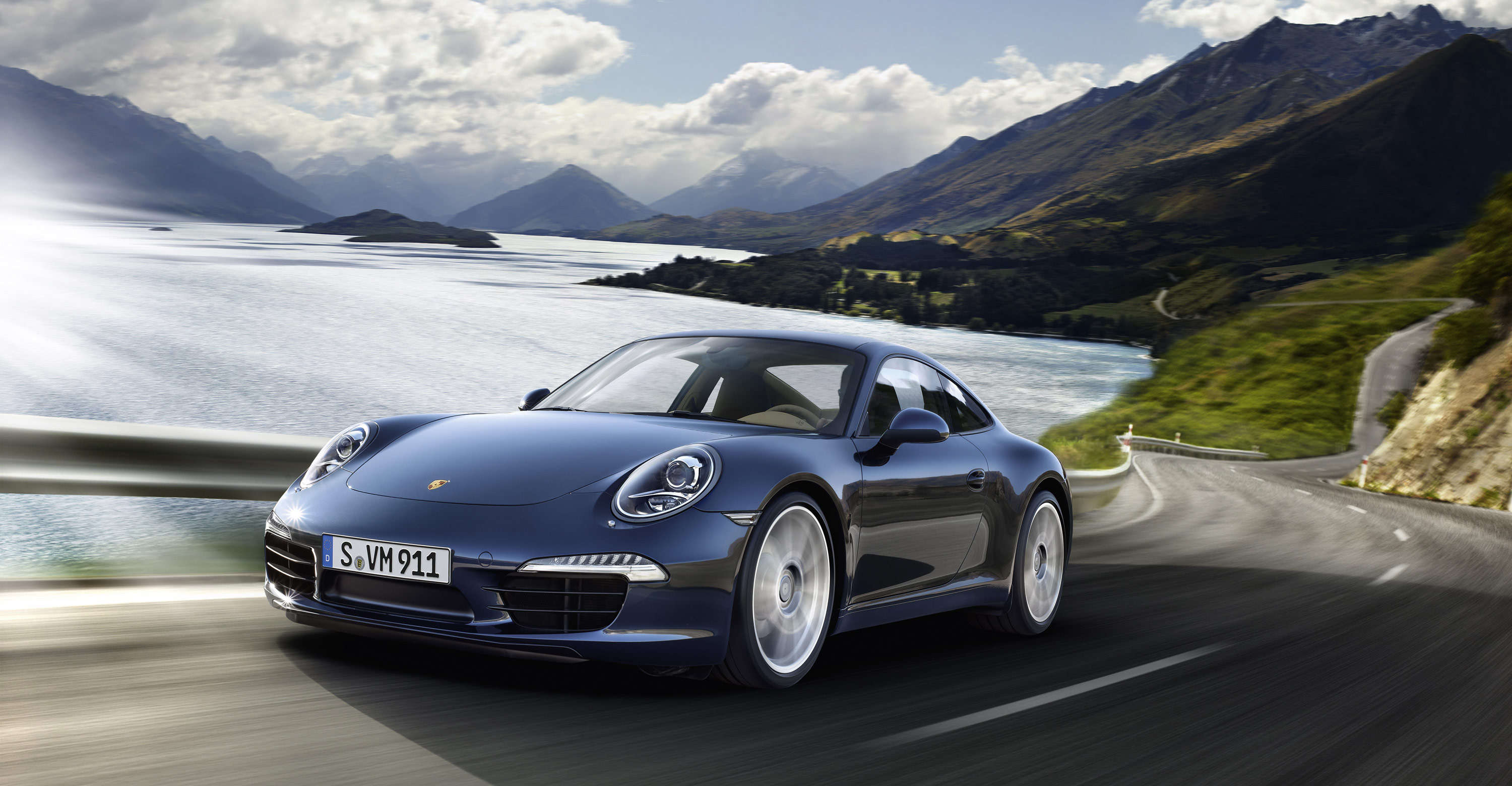2012 blue Porsche 911 Carrera S wallpapers 3000x1560