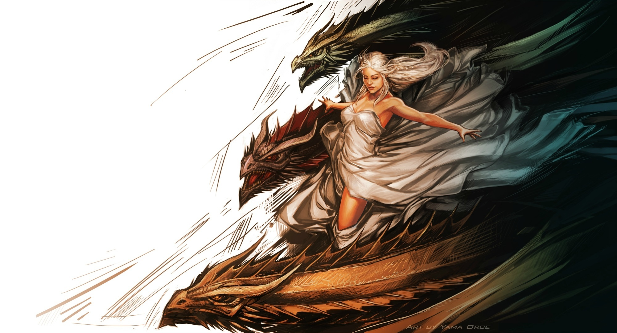Game of thrones Daenerys Targaryen painting art dragons dragon fantasy 2001x1080