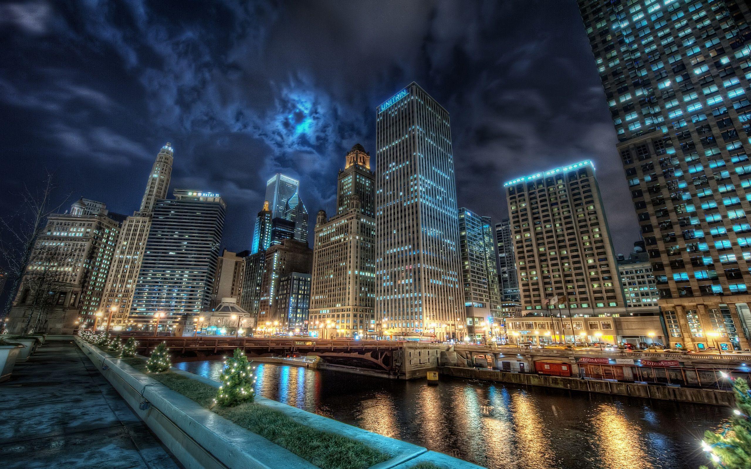 awesome Chicago Night Lights Background Image AmazingPictcom 2560x1600