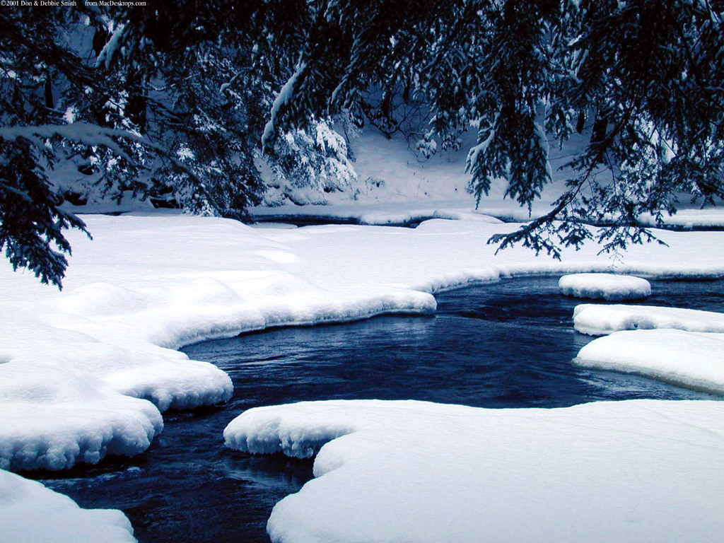Winter Window Scene Winter Nature Backgrounds River Ice naturejpg 1024x768