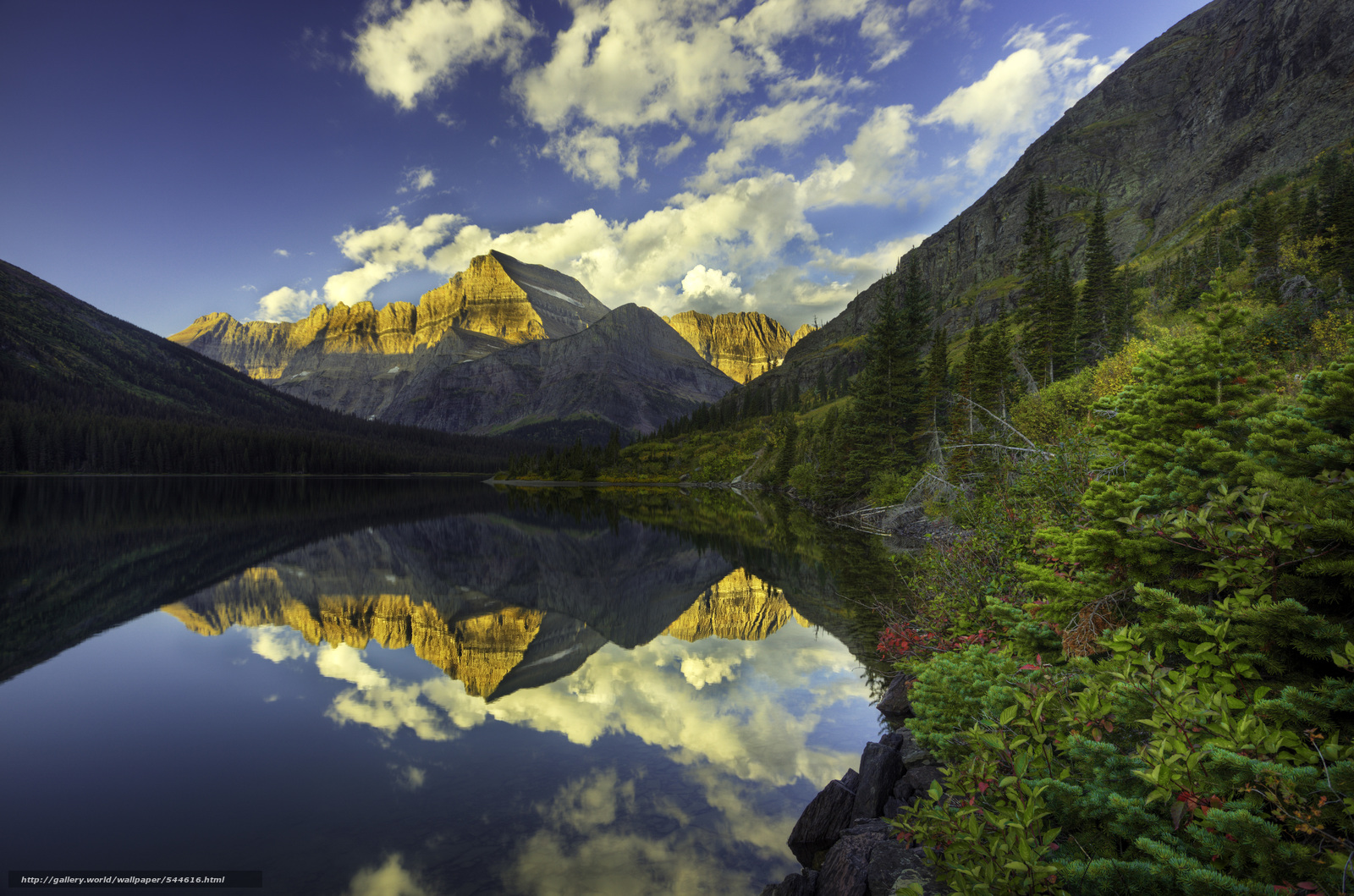 Download wallpaper Glacier National Park lake Mountains landscape 1600x1059