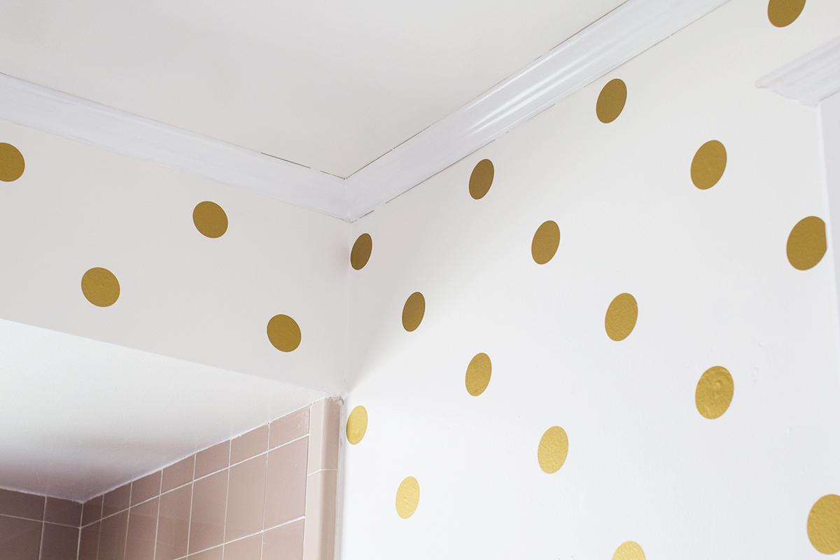 Gold Polka Dot Bathroom Walls Sarah Hearts 1200x800